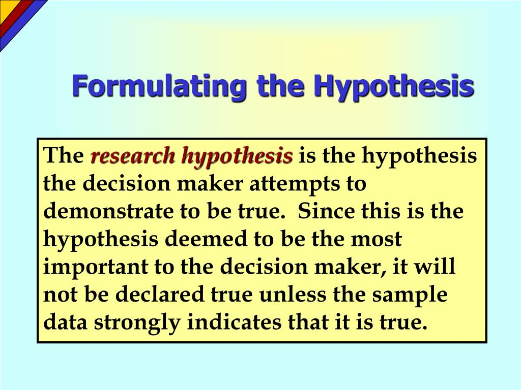 Formulating the Hypothesis