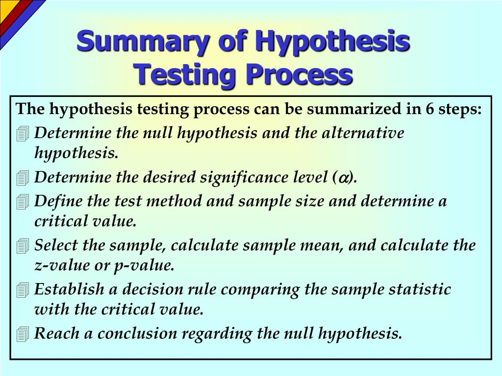 Summary of Hypothesis Testing Process