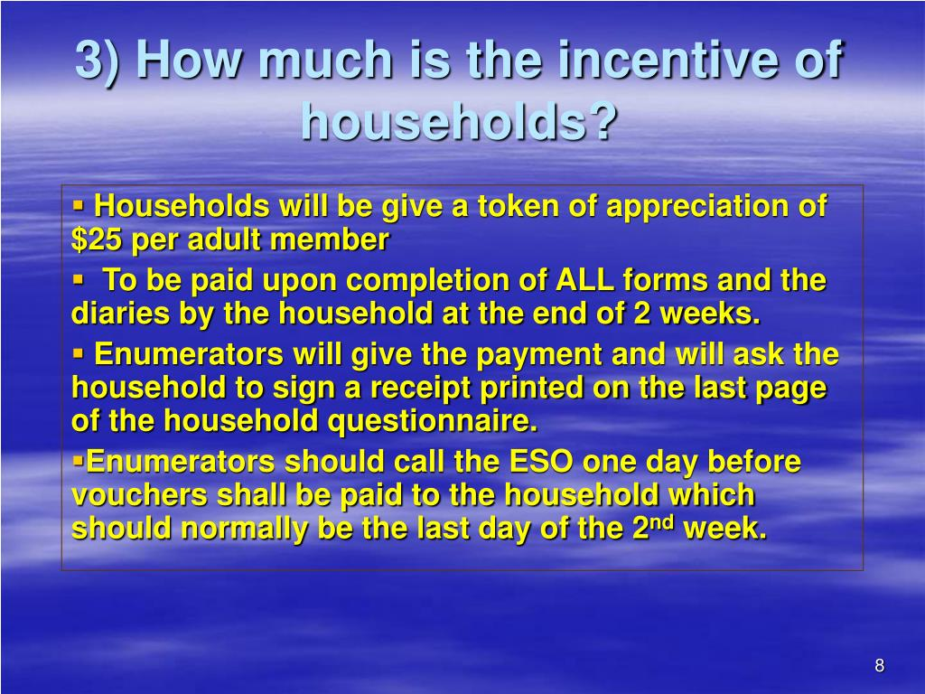 3) How much is the incentive of households?