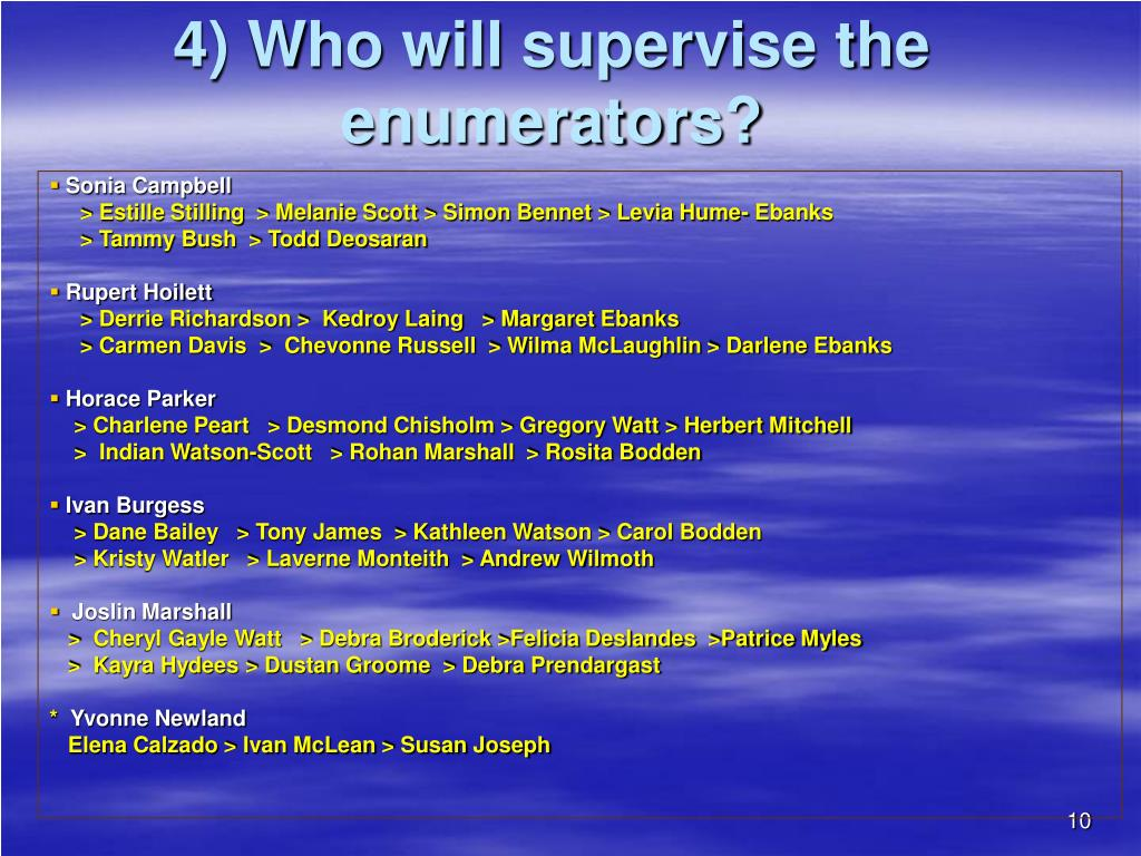 4) Who will supervise the enumerators?