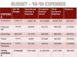 budget 08 09 expenses