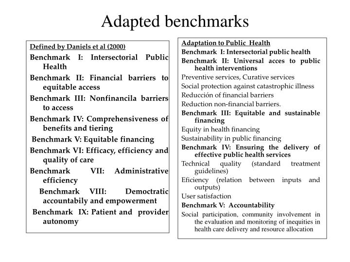 Adapted benchmarks