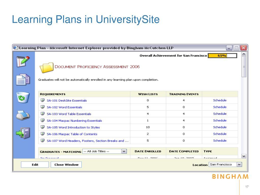Learning Plans in UniversitySite