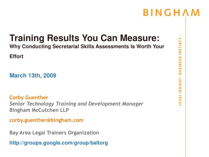 Training results you can measure why conducting secretarial skills assessments is worth your effort