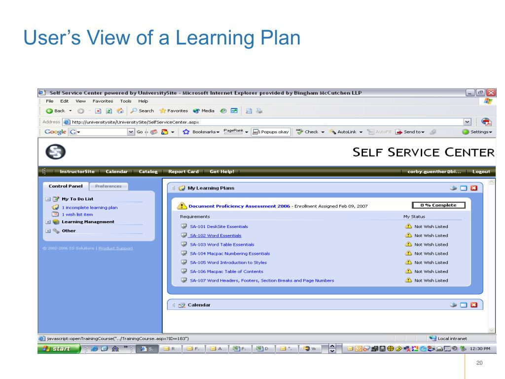 User's View of a Learning Plan