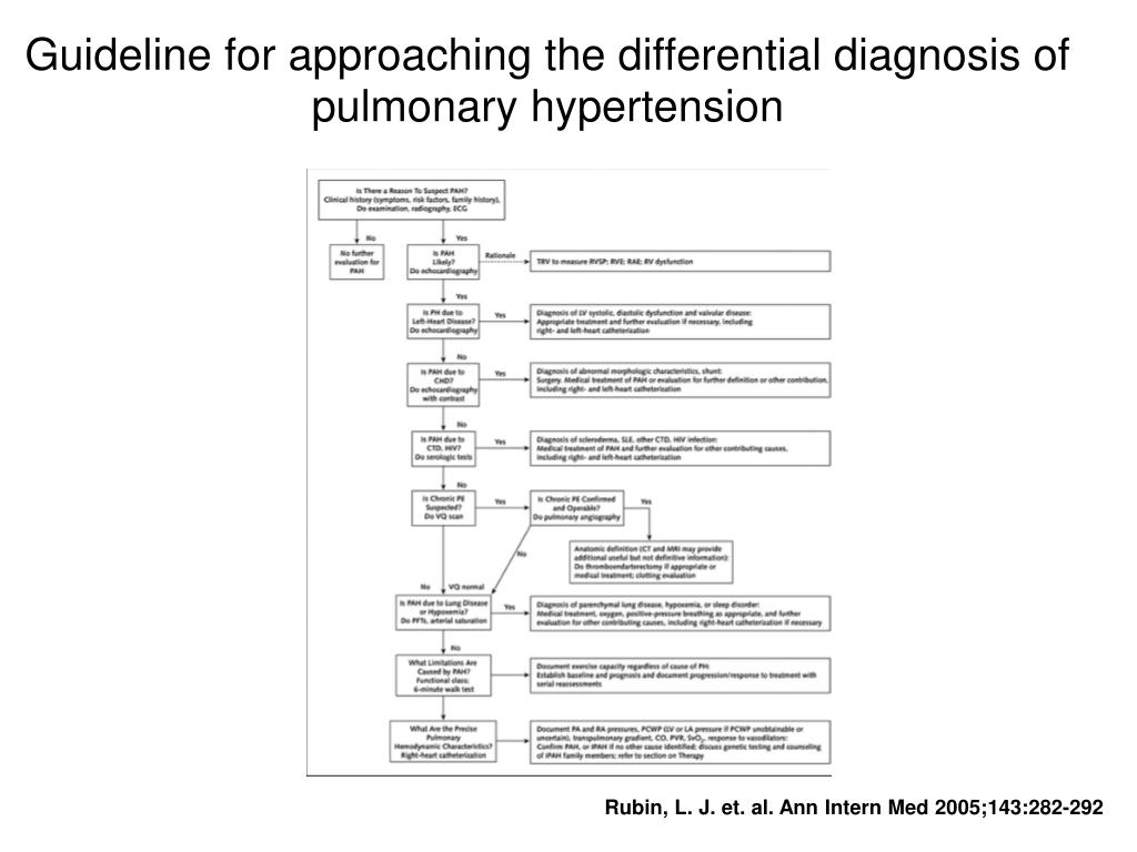 Guideline for approaching the differential diagnosis of pulmonary hypertension