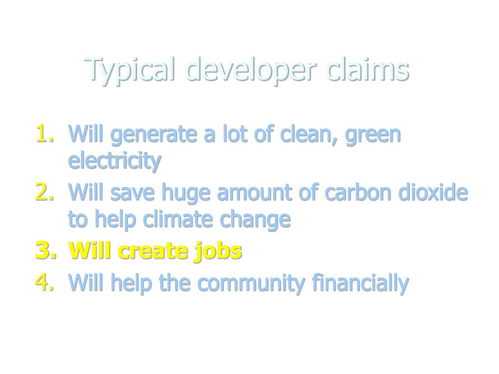 Typical developer claims