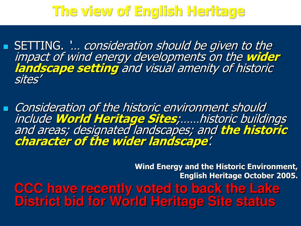 The view of English Heritage