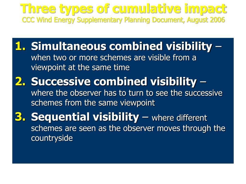Three types of cumulative impact