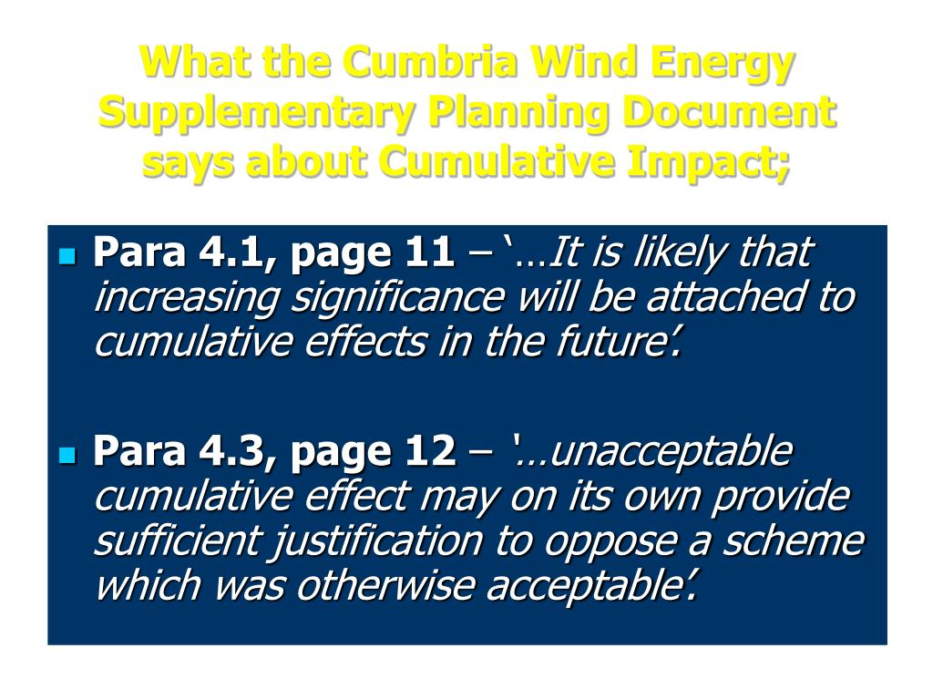 What the Cumbria Wind Energy Supplementary Planning Document says about Cumulative Impact;