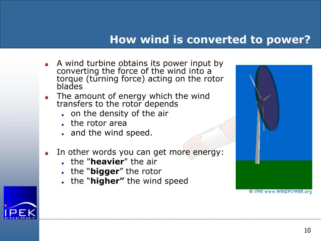 How wind is converted to power?