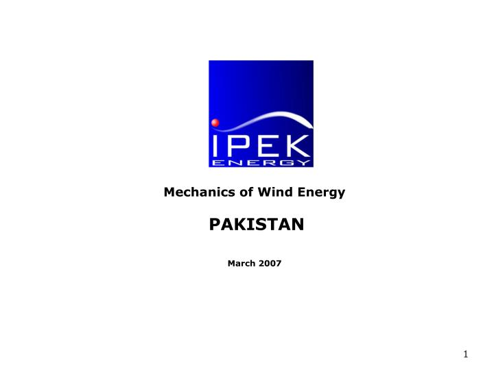Pakistan wind energy basics november 2006 l.jpg