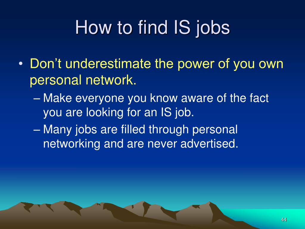 How to find IS jobs