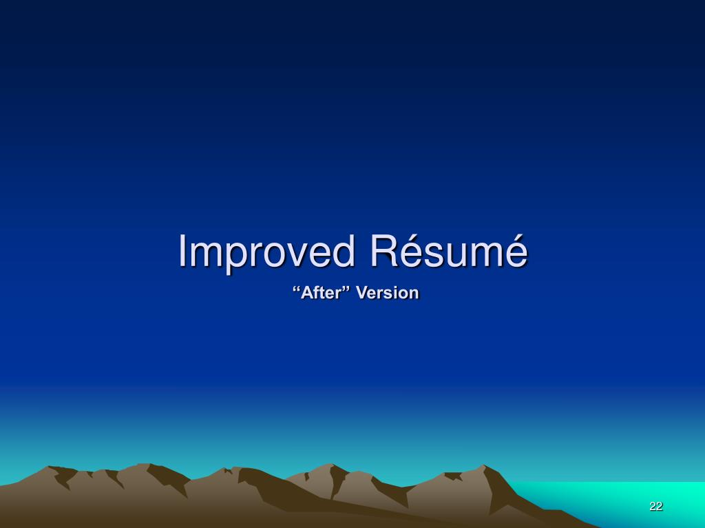 Improved Résumé
