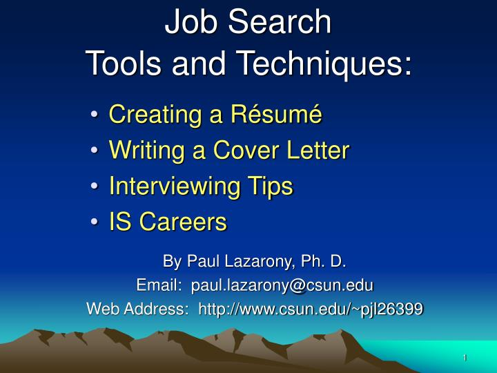 Job search tools and techniques