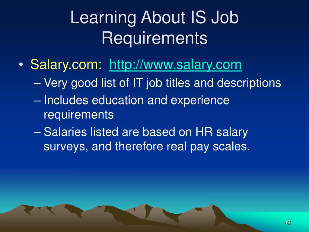 Learning About IS Job Requirements