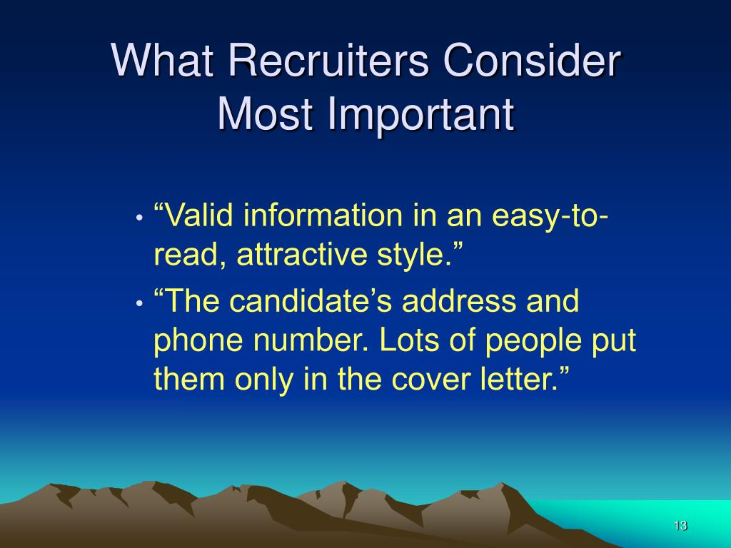 What Recruiters Consider Most Important
