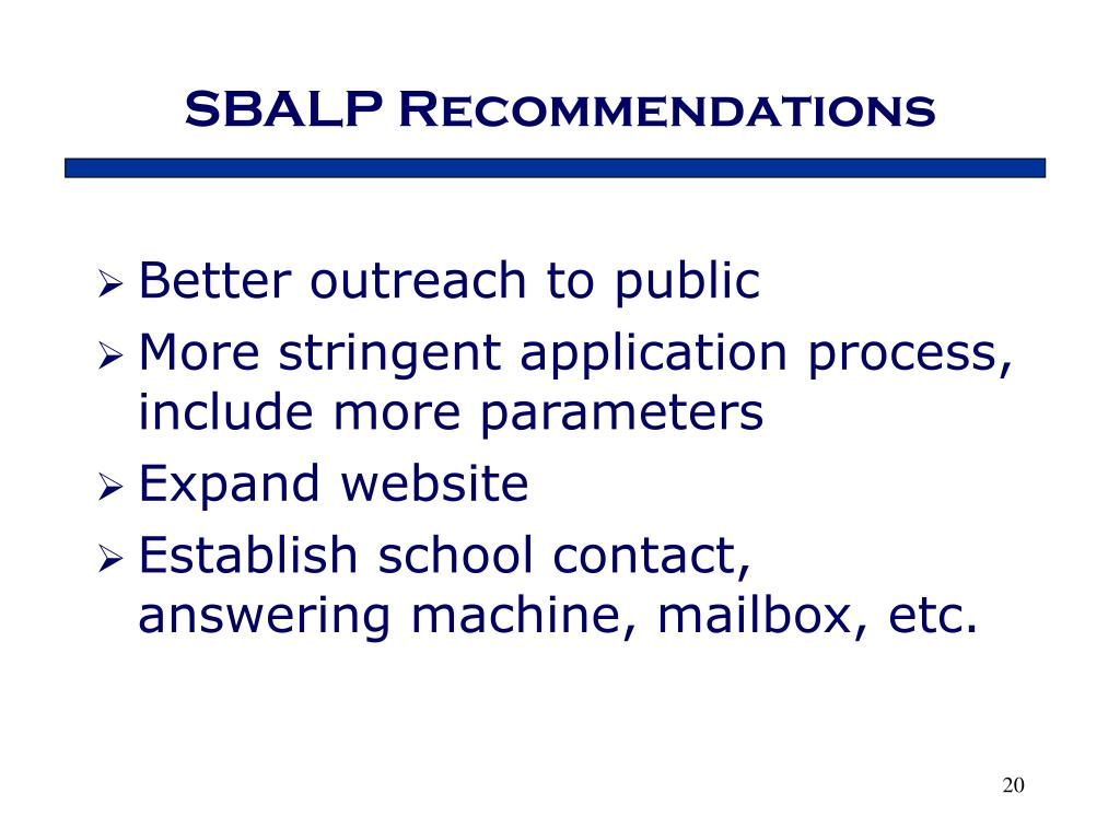 SBALP Recommendations
