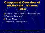 component overview of ar2kanoid kalman filter