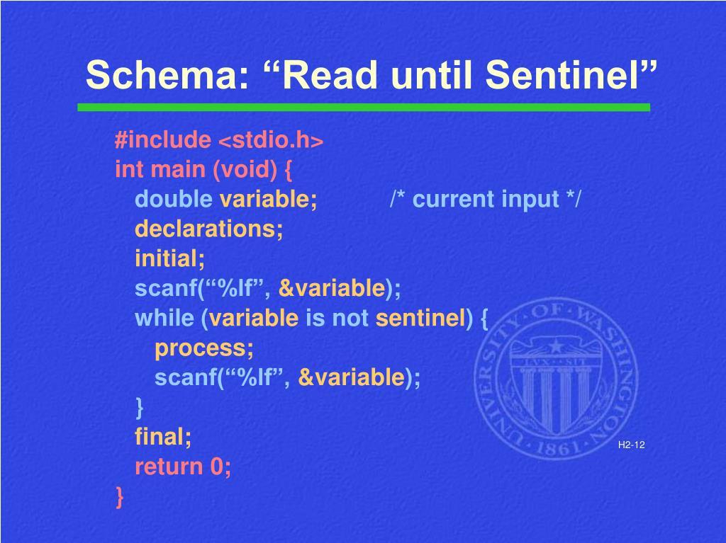 """Schema: """"Read until Sentinel"""""""