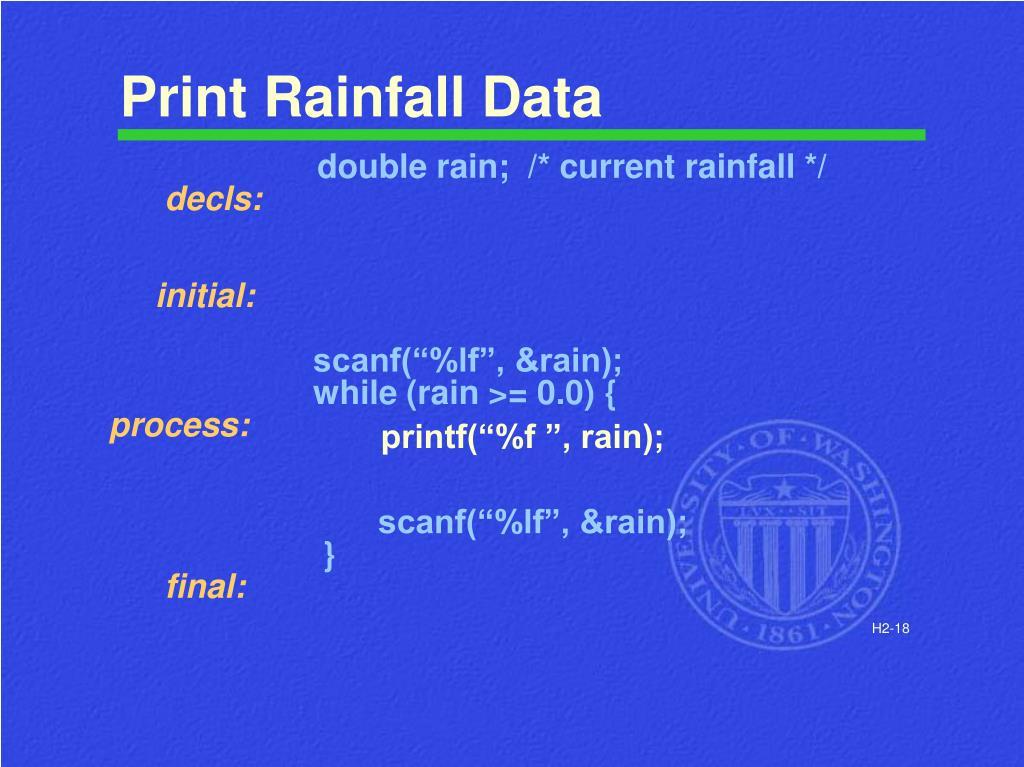 Print Rainfall Data