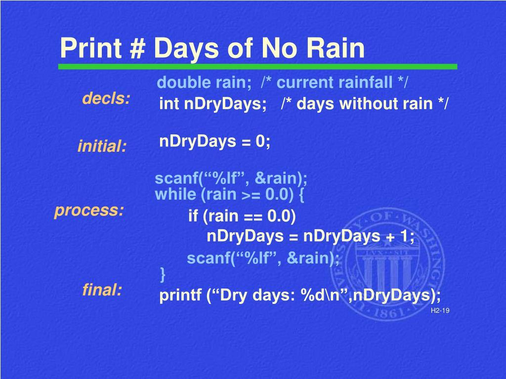 Print # Days of No Rain