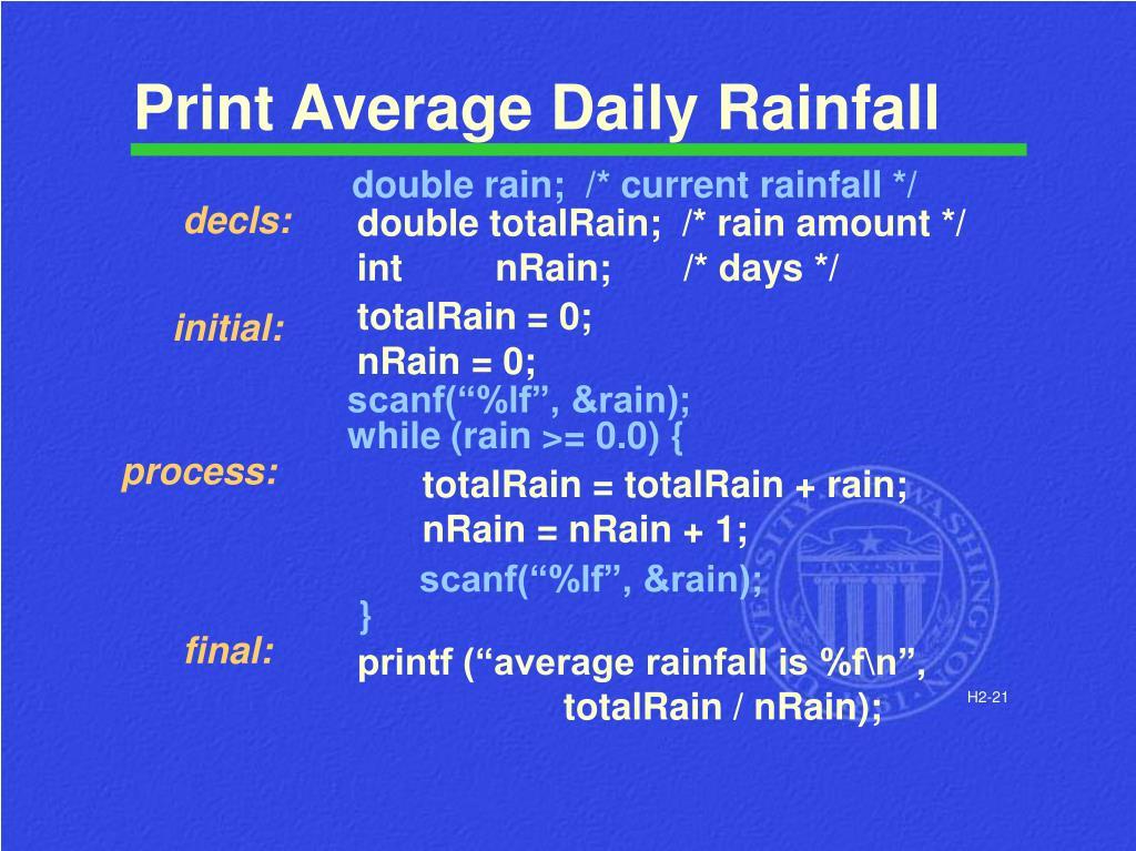 Print Average Daily Rainfall