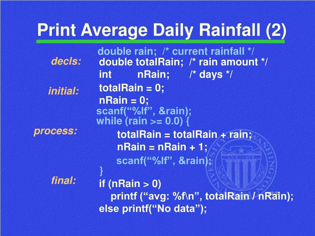 Print Average Daily Rainfall (2)