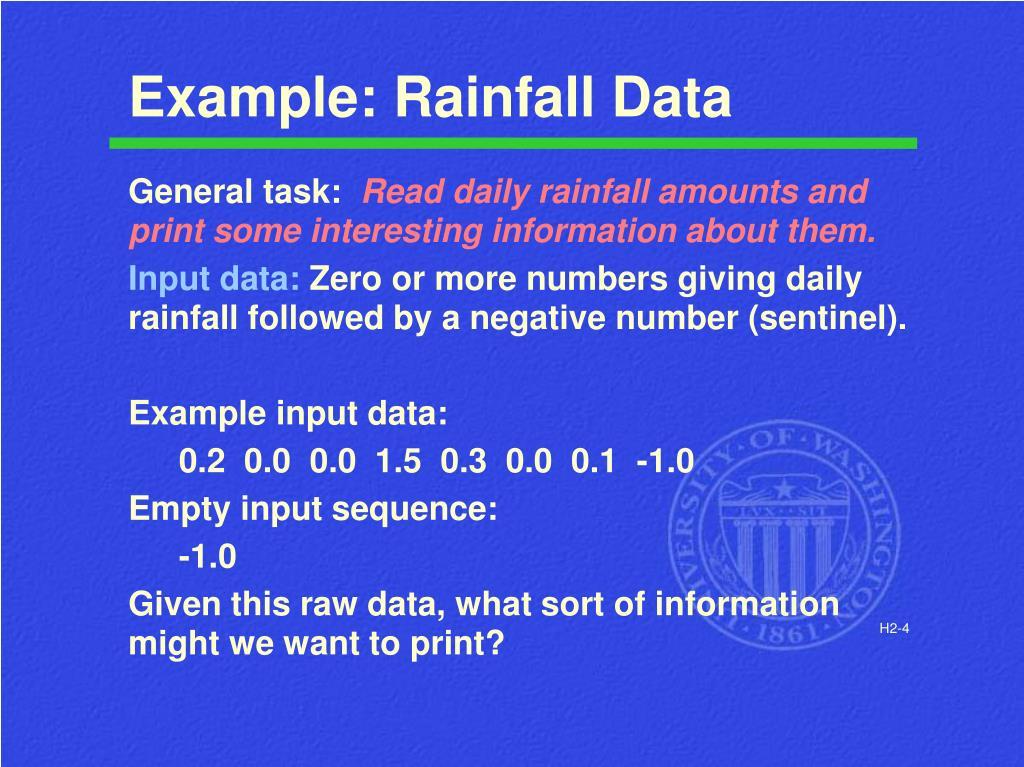 Example: Rainfall Data