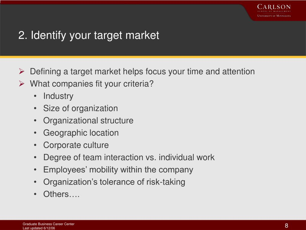 2. Identify your target market