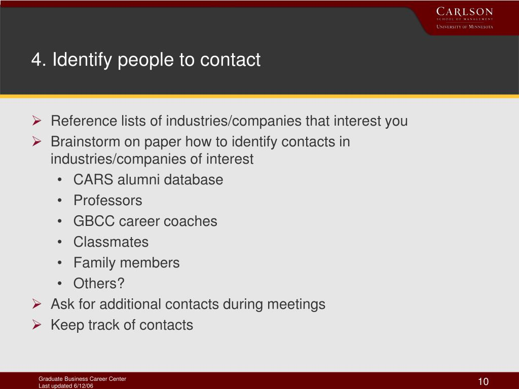 4. Identify people to contact