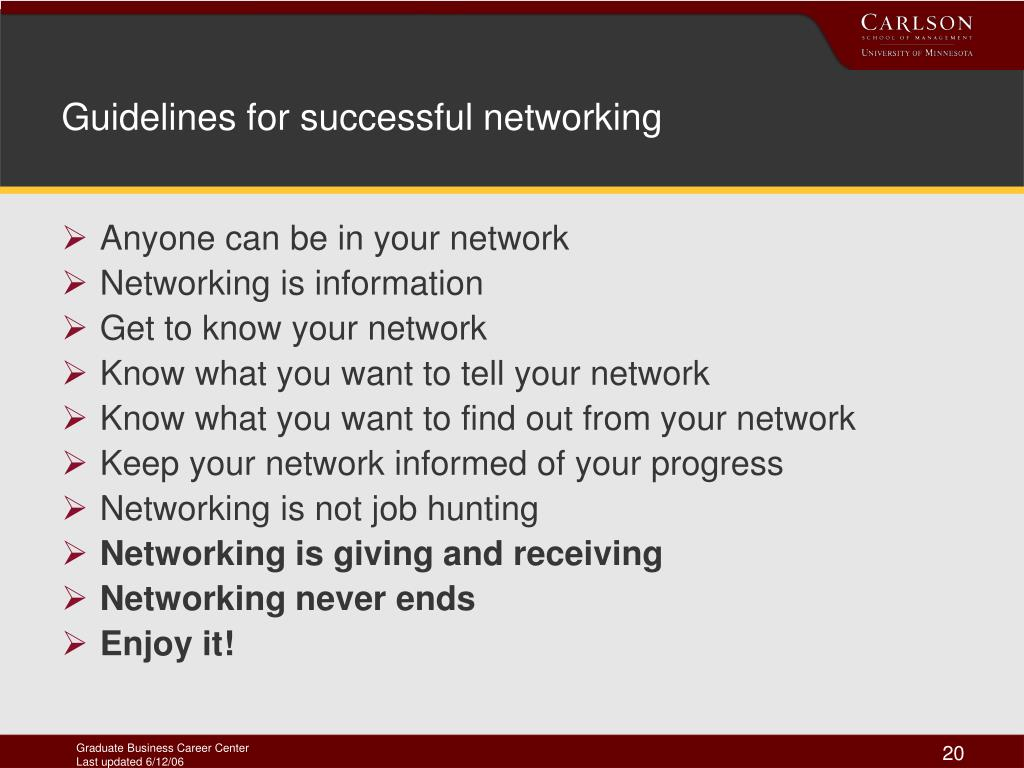 Guidelines for successful networking