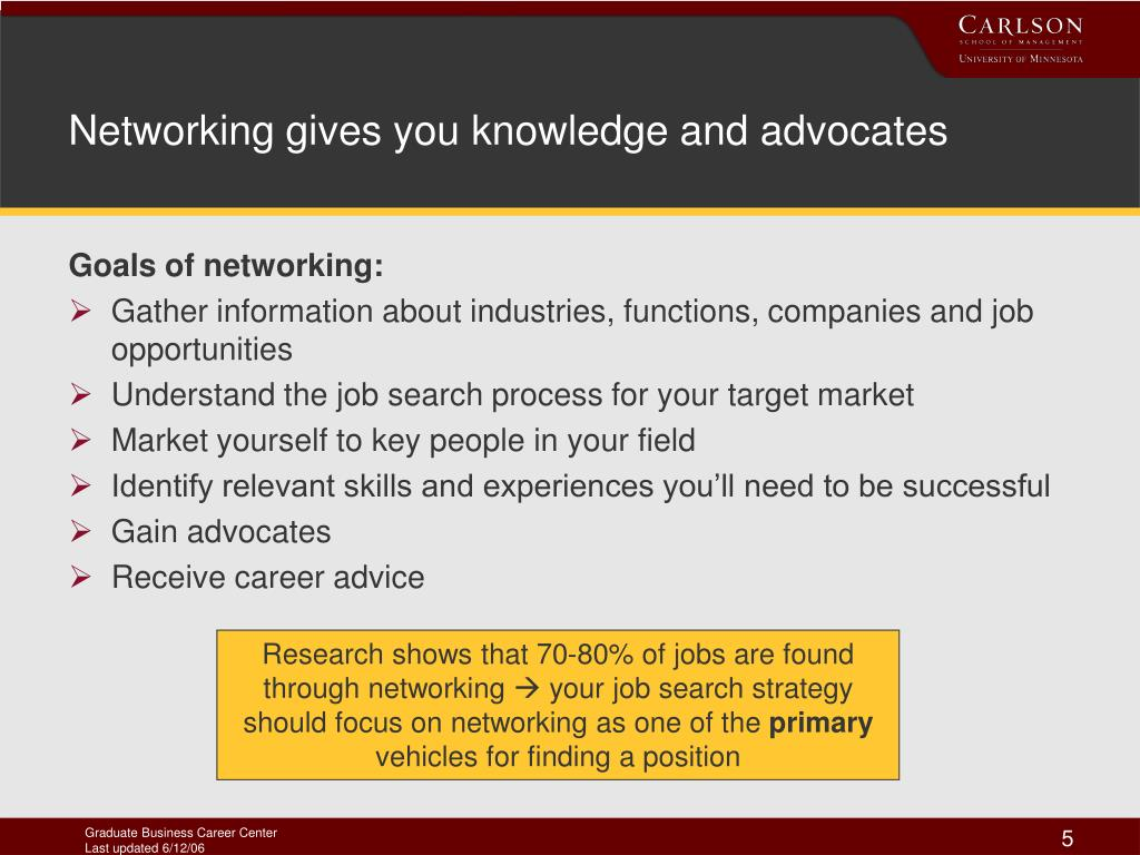 Networking gives you knowledge and advocates