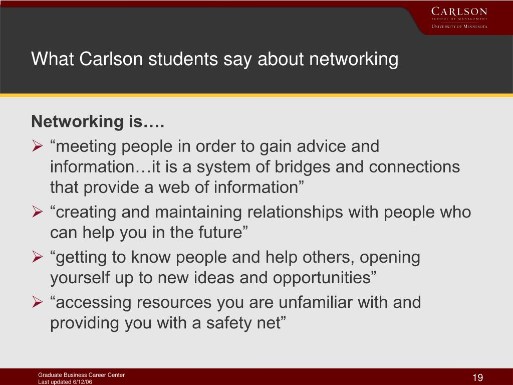 What Carlson students say about networking