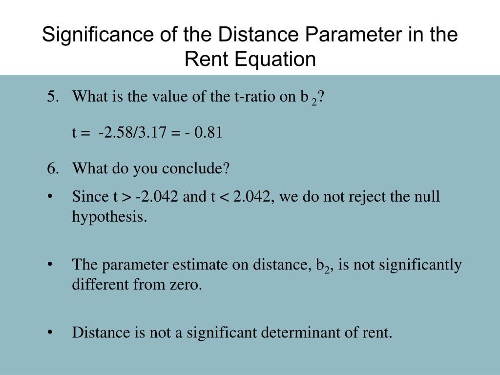 Significance of the Distance Parameter in the Rent Equation