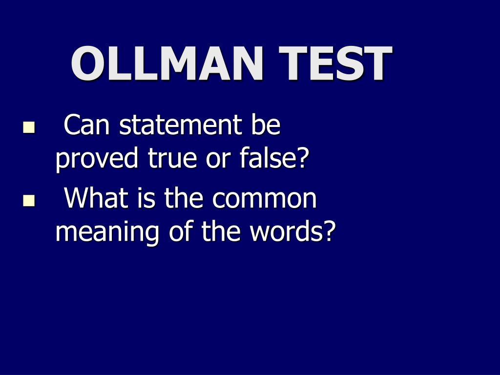OLLMAN TEST
