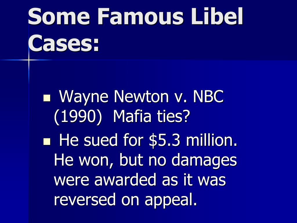Wayne Newton v. NBC (1990)  Mafia ties?