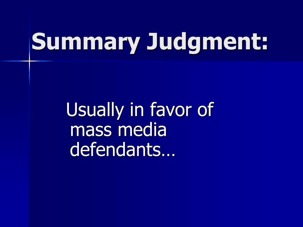 Summary Judgment: