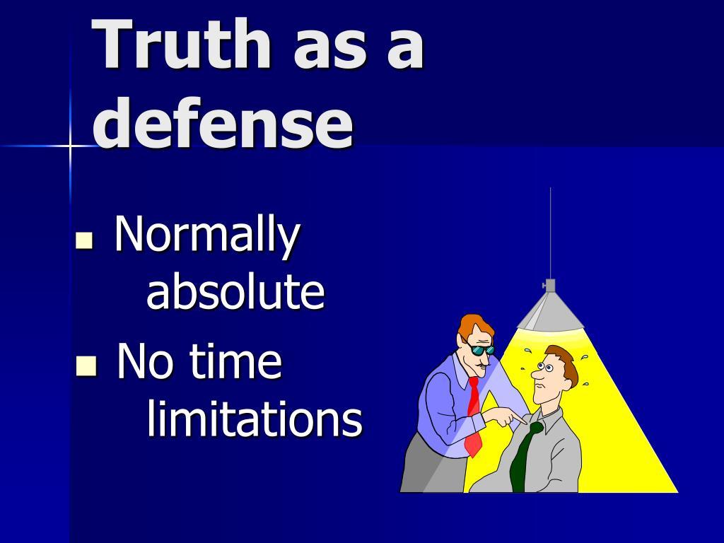 Truth as a defense