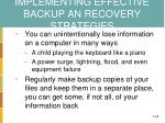 implementing effective backup an recovery strategies