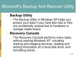 microsoft s backup and recover utility