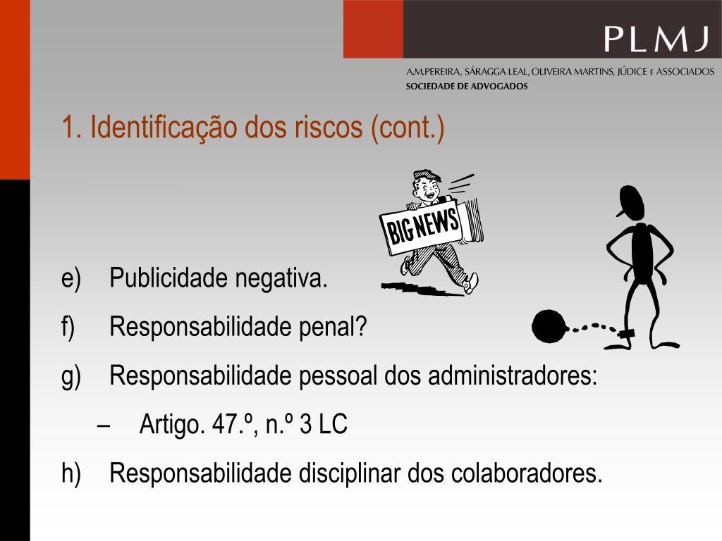 1. Identificação dos riscos (cont.)