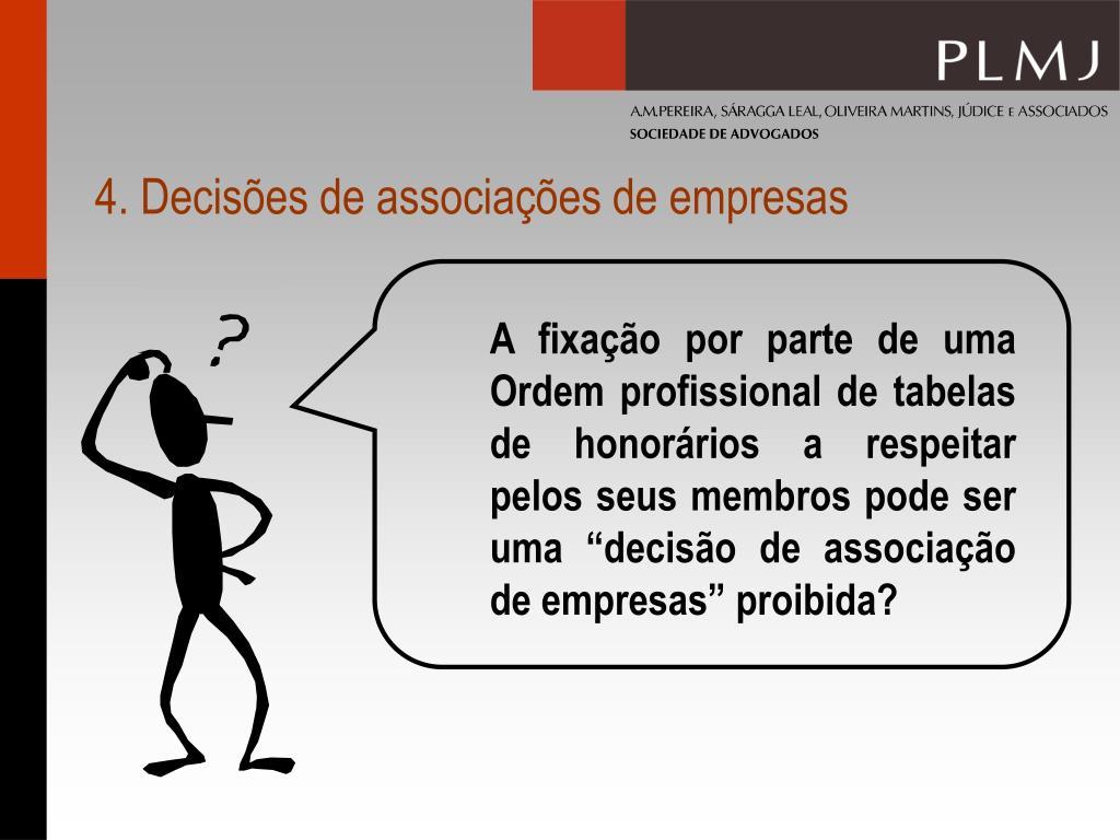 4. Decisões de associações de empresas
