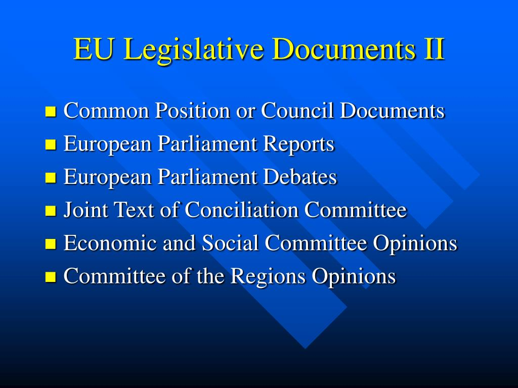 EU Legislative Documents II