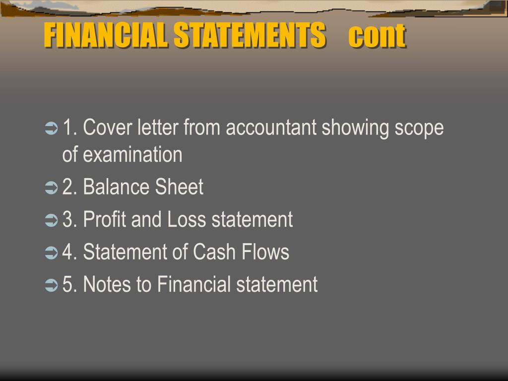 FINANCIAL STATEMENTS 	cont