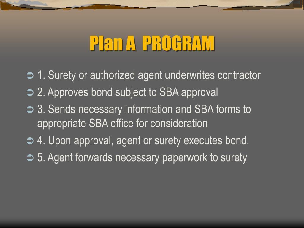 Plan A  PROGRAM