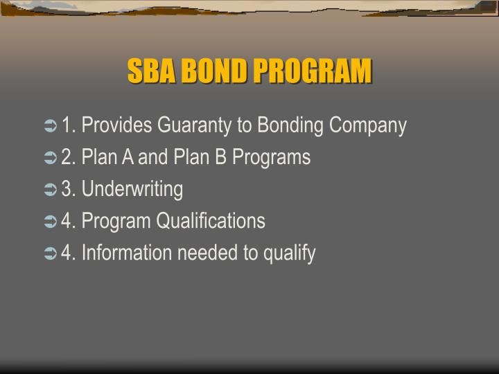 Sba bond program