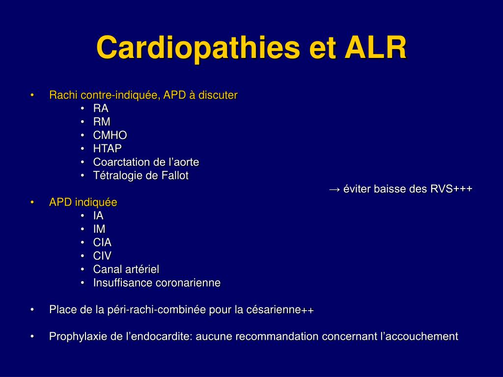 Cardiopathies et ALR
