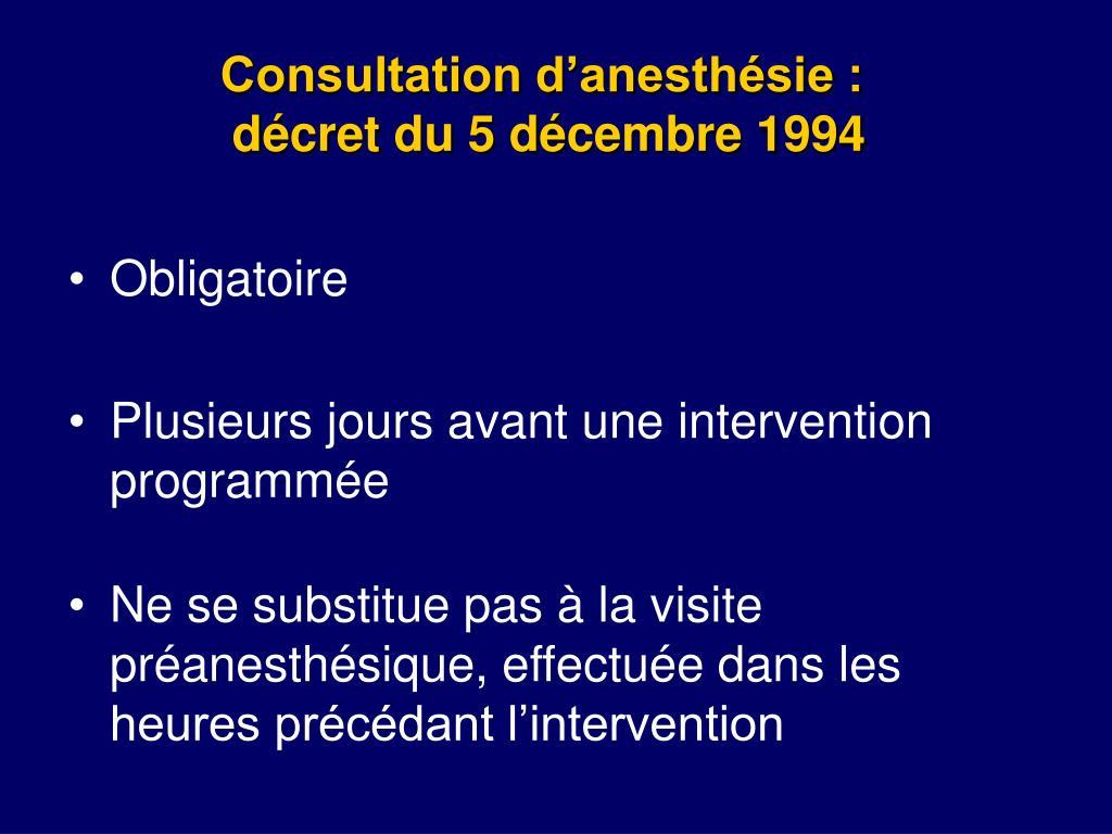Consultation d'anesthésie :