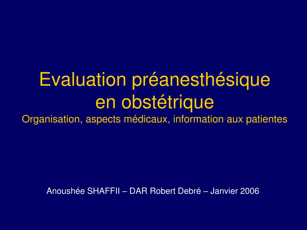 Evaluation préanesthésique